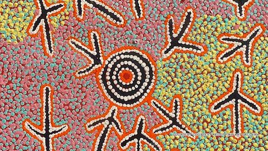 The Warlawurru Jukurrpa (Wedge-tailed Eagle Dreaming) by Paddy JAPALJARRI STEWART is a replica of one of the 30 iconic doors in the Yuendumu school, which were the painting canvasses for recording an extraordinary aboriginal history.
