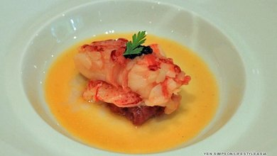 The Boston lobster served with date puree and caviar at Lafite is aesthetically pleasing as well as tasting delicious.