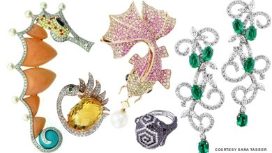 Designer-jeweller Sara Taseer 's creations are one-of-a-kind statement pieces that range from bold, baroque pearl-and-black diamond cocktail rings to whimsical brooches.