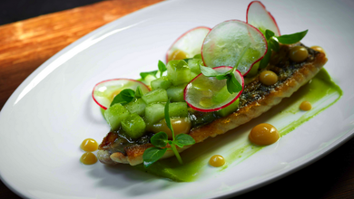 Jason Atherton's miso-grilled mackerel with wasabi, avocado, cucumber chutney is a nod to Japan.