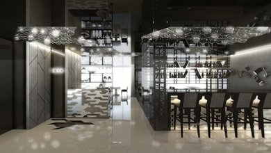 l'Altro Hong Kong features a classy decor in grey and white.